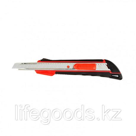 Нож, 9 мм, выдвижное лезвие, металлическая направляющая, эргономичная двухкомпонентная рукоятка Matrix 78932, фото 2