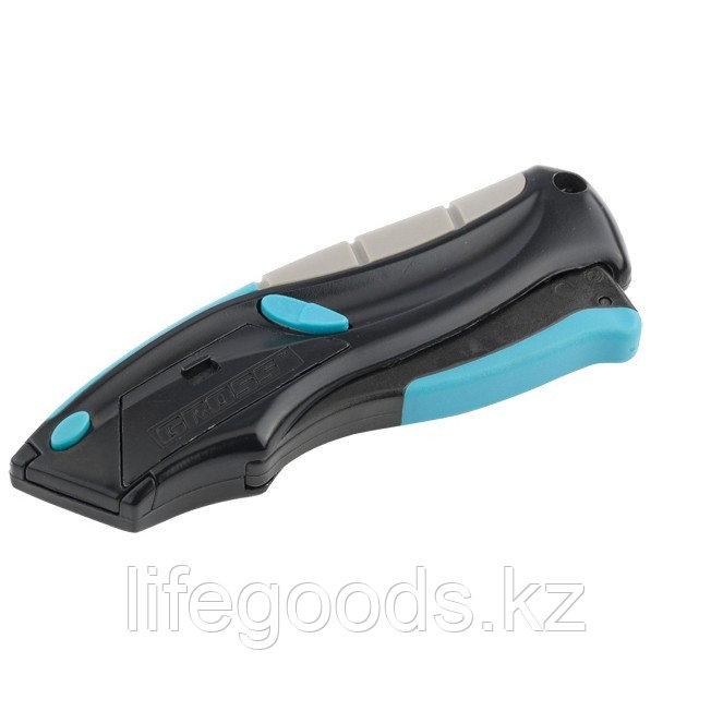 Нож, ремонтно-монтажный, трехкомпонентная рукоятка, авто выброс, возврат лезвия, пистолетного типа, 170 мм, 5