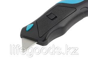 Нож, ремонтно-монтажный, трехкомпонентная рукоятка, кнопочный автовыброс, возврат лезвия, 175 мм, 5 заточенных, фото 2