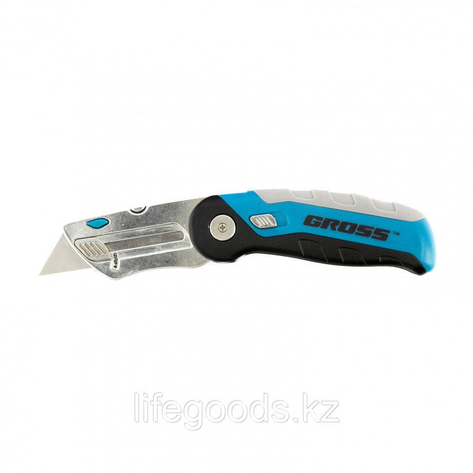 Нож, ремонтно-монтажныйный, складной, трехкомпонентная рукоятка, контейнер-держатель для лезвий, 175 мм, 2 заточенных лезвия Gross