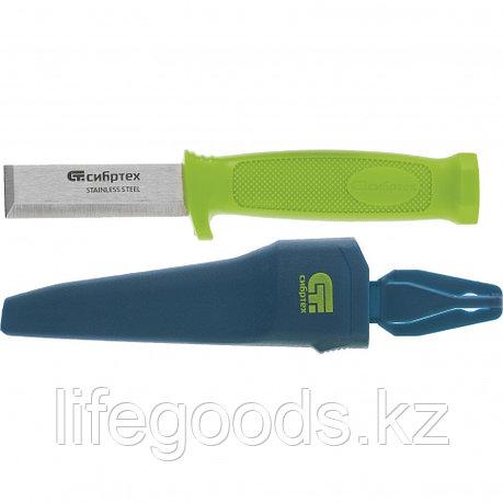 Нож-стамеска с чехлом, 195 мм, лезвие 75 мм Сибртех 79018, фото 2