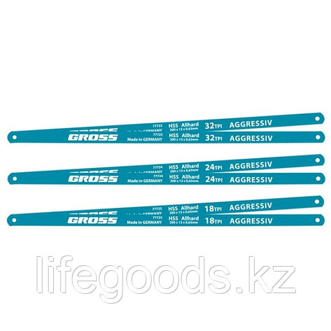 Полотна для ножовки по металлу, 300 мм, 18 TPI, HSS, 2 шт Gross 77725, фото 2