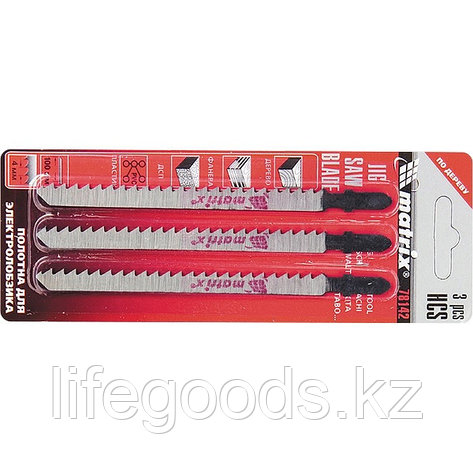 Полотна для электролобзика по дереву, 3 шт, 75 х 2,5 мм, HCS, EU- хвостовик Matrix 78141, фото 2