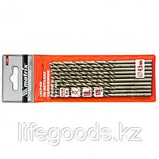 Сверло по металлу, 4,5 х 126 мм, полированное, удл, HSS, 10 шт, цилиндрический хвостовик Matrix, фото 3