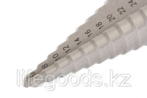 Сверло ступенчатое, 6-8-10-12-14-16-18-20-22-24-26-28-30 мм, Р6М5, трехгранный хвостовик Барс 72362, фото 2