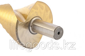 Сверло ступенчатое, 9-12-15-18-21-24-27-30-33-36 мм, HSS, спиральный профиль, трехгранный хвостовик Matrix, фото 2