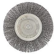 Щетка для дрели 100 мм, плоская со шпилькой, витая проволока Сибртех 744507