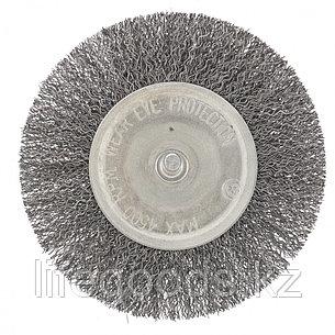 Щетка для дрели 100 мм, плоская со шпилькой, витая проволока Сибртех, фото 2
