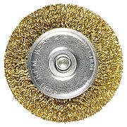 Щетка для дрели 100 мм, плоская со шпилькой, латунированная витая проволока Matrix 74450