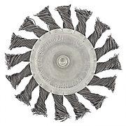 Щетка для дрели, 100 мм, плоская со шпилькой, крученая металлическая проволока Сибртех 744327