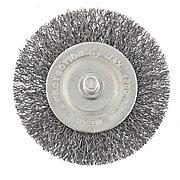 Щетка для дрели, 60 мм, плоская со шпилькой, витая проволока Сибртех 744467