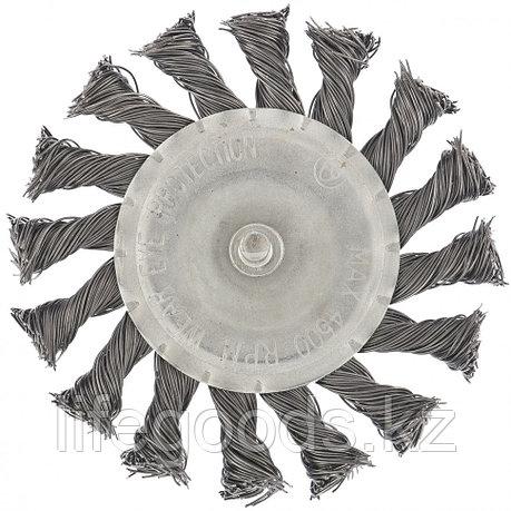 Щетка для дрели, 75 мм, плоская со шпилькой, крученая металлическая проволока Matrix, фото 2