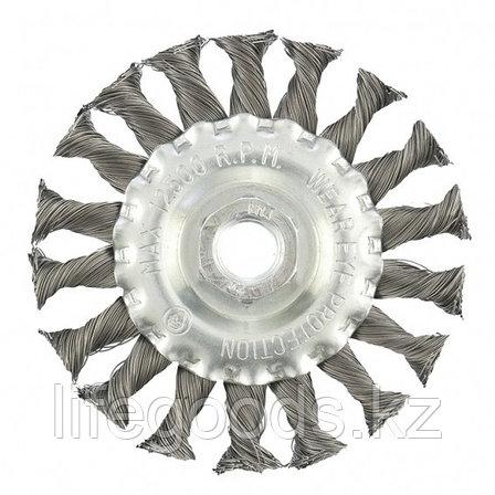 Щетка для УШМ 100 мм, М14, плоская, крученая проволока 0,35 мм Matrix, фото 2