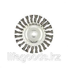 Щетка для УШМ 125 мм, М14, плоская, крученая проволока 0,8 мм Matrix, фото 2
