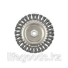 Щетка для УШМ 150 мм, М14, плоская, крученая проволока 0,5 мм Matrix, фото 3