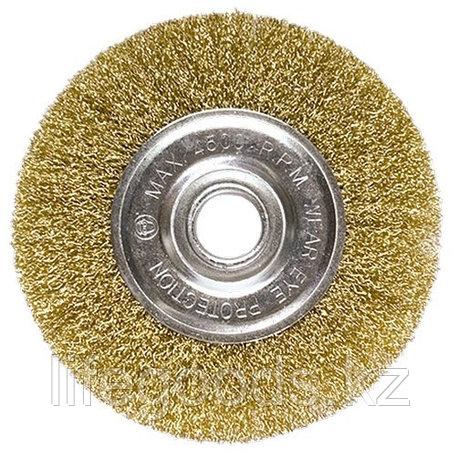 Щетка для УШМ, 100 мм, посадка 22,2 мм, плоская, латунированная витая проволока Matrix, фото 2