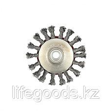 "Щетка для УШМ, 115 мм, М14, ""тарелка"", крученая проволока 0,5 мм Matrix, фото 2"
