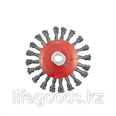 "Щетка для УШМ, 125 мм, М14, ""тарелка"", крученая проволока 0,5 мм Matrix, фото 3"
