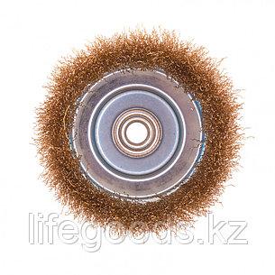 "Щетка для УШМ, 125 мм, М14, ""чашка"", латунированная витая проволока Matrix, фото 2"