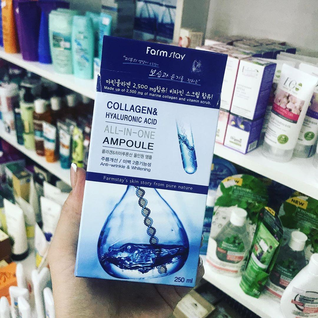 Ампульная сыворотка Farmstay с гиалуроновой кислотой и коллагеном