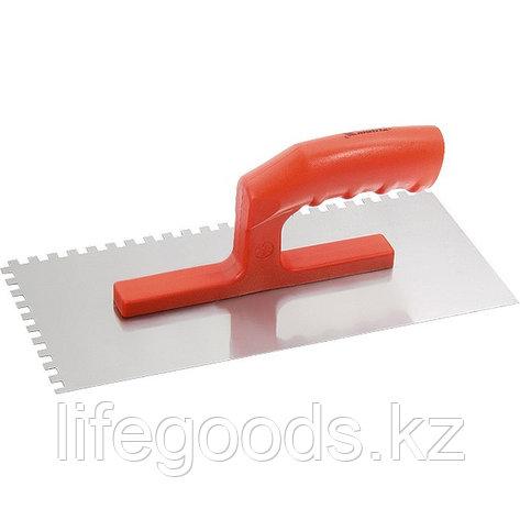 Гладилка стальная, 280 х 130 мм, зеркальная полировка, пластмассовая ручка, зуб 6 х 6 мм Matrix, фото 2