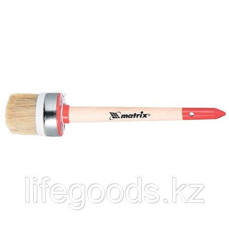 Кисть круглая, Профи №4, 25 мм, натуральная щетина, деревянная ручка Matrix, фото 2