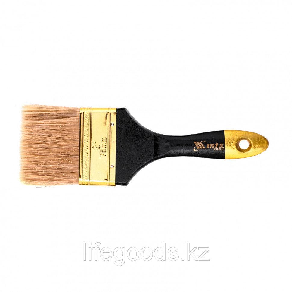 """Кисть плоская """"Профи"""" 3"""", натуральная щетина, деревянная ручка Mtx"""