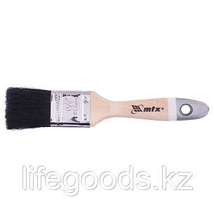 Кисть плоская, натуральная черная щетина, деревянная ручка, размер 1,5 Mtx, фото 2