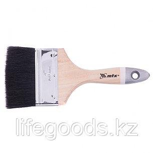 Кисть плоская, натуральная черная щетина, деревянная ручка, размер 4 Mtx, фото 2