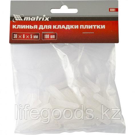 Клинья для кладки плитки 30 х 6 х 5 мм упаковка 100 шт Matrix, фото 2