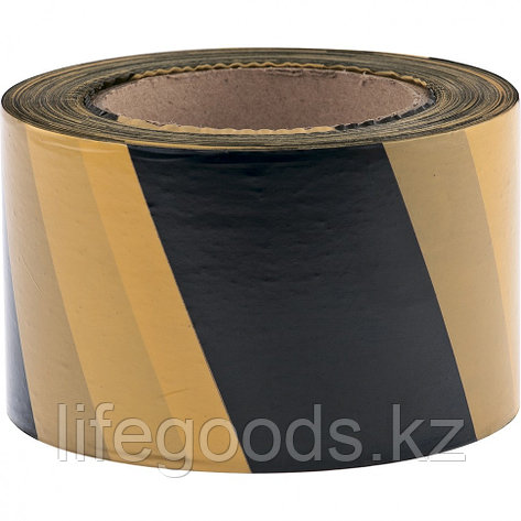 Лента сигнальная, 75 мм х 200 м, черно-желтая Россия Сибртех, фото 2