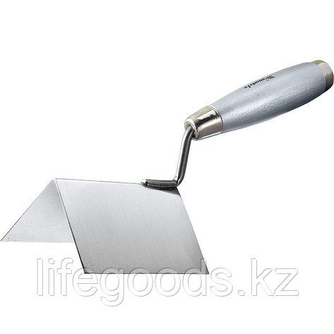 Мастерок из нержавеющей стали, 80 х 60 х 60 мм, для внешних углов, деревянная ручка Matrix, фото 2