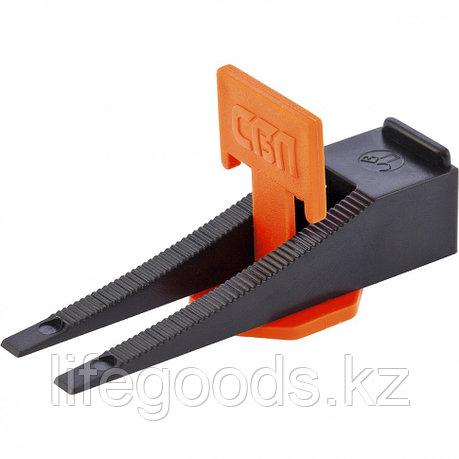 Система выравнивания плитки СВП, комплект: зажим, клин 50 х 50 шт, (ведерко ПЭНД 1100 мл) Сибртех 88070, фото 2