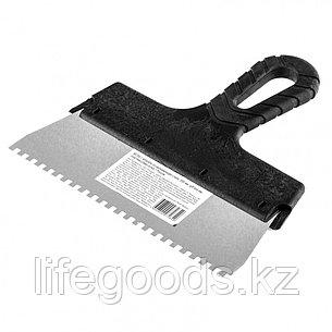 Шпатель из нержавеющей стали, 200 мм, зуб 4 х 4 мм, пластмассовая ручка Россия 85155, фото 2