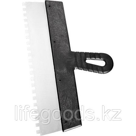 Шпатель из нержавеющей стали, 250 мм, зуб 10 х 10 мм, пластмассовая ручка Сибртех 85500, фото 2