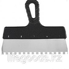 Шпатель из нержавеющей стали, 250 мм, зуб 8 х 8 мм, пластмассовая ручка Россия 85143, фото 2
