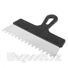 Шпатель из нержавеющей стали, 250 мм, зуб 8 х 8 мм, пластмассовая ручка Россия 85143, фото 3