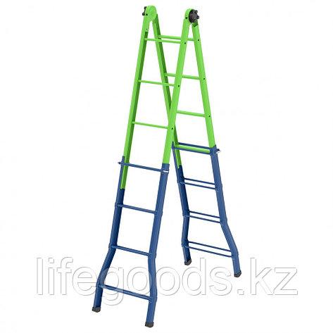 Лестница - стремянка-трансформер, 121 см-44 см/194 см-394 см, Россия, Сибртех 97891, фото 2