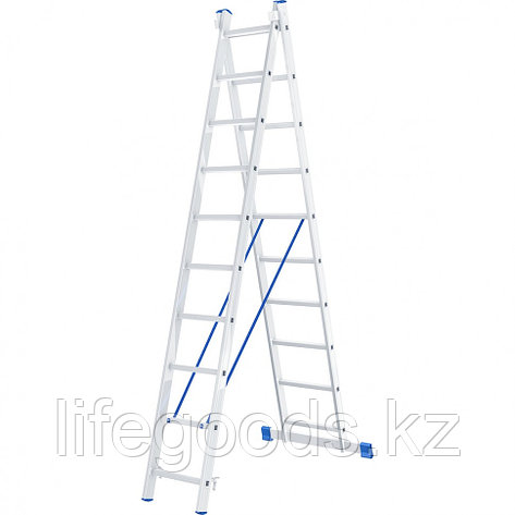 Лестница, 2 х 10 ступеней, алюминиевая, двухсекционная, Россия, Сибртех 97910, фото 2