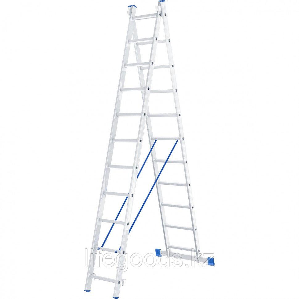 Лестница, 2 х 11 ступеней, алюминиевая, двухсекционная, Россия, Сибртех 97911