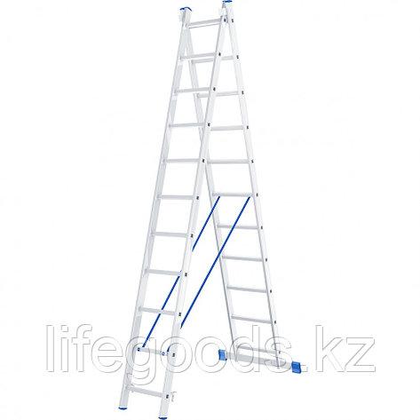 Лестница, 2 х 11 ступеней, алюминиевая, двухсекционная, Россия, Сибртех 97911, фото 2
