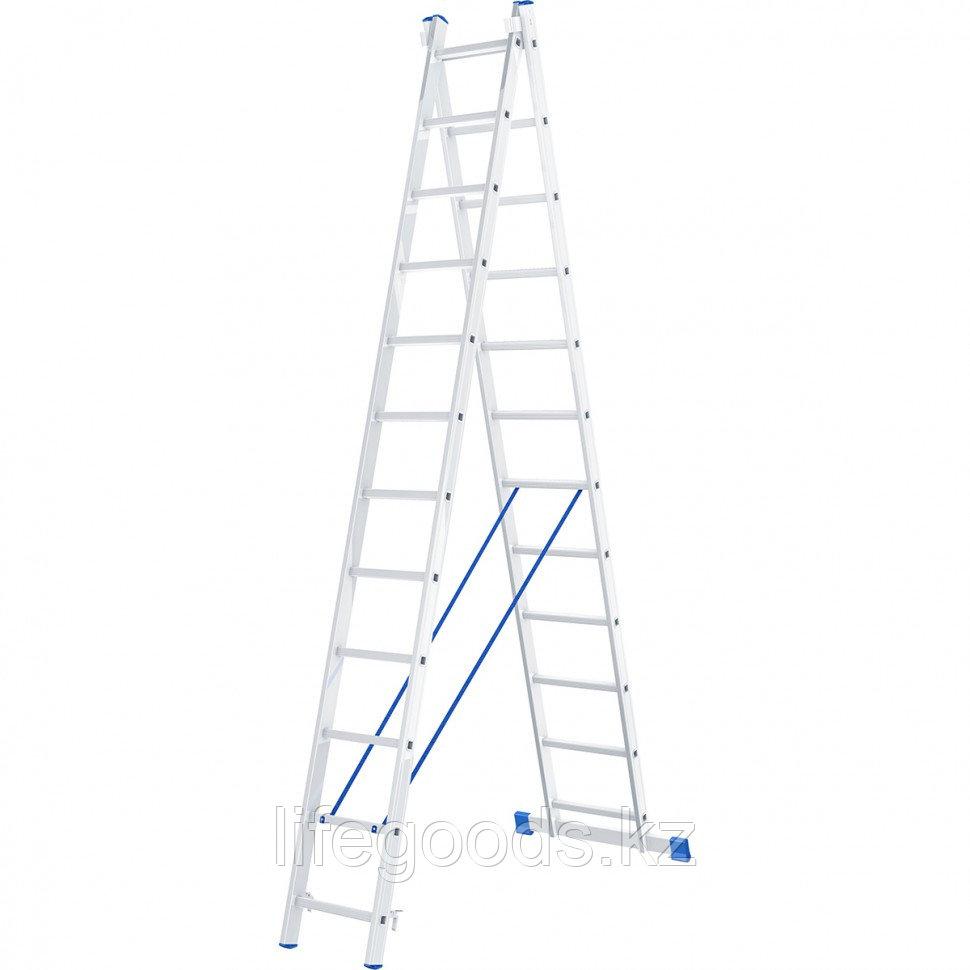 Лестница, 2 х 12 ступеней, алюминиевая, двухсекционная, Россия, Сибртех 97912