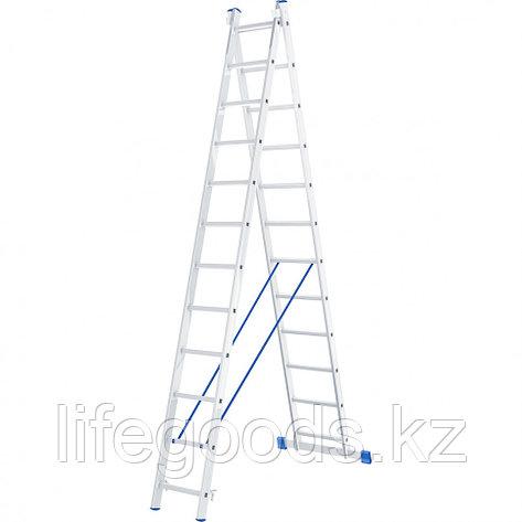 Лестница, 2 х 12 ступеней, алюминиевая, двухсекционная, Россия, Сибртех 97912, фото 2