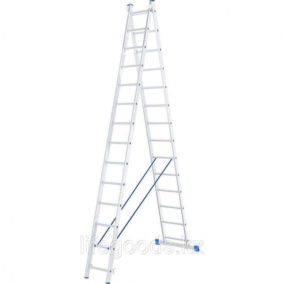 Лестница, 2 х 14 ступеней, алюминиевая, двухсекционная, Россия, Сибртех 97914