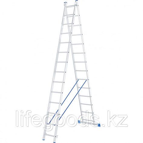 Лестница, 2 х 14 ступеней, алюминиевая, двухсекционная, Россия, Сибртех 97914, фото 2