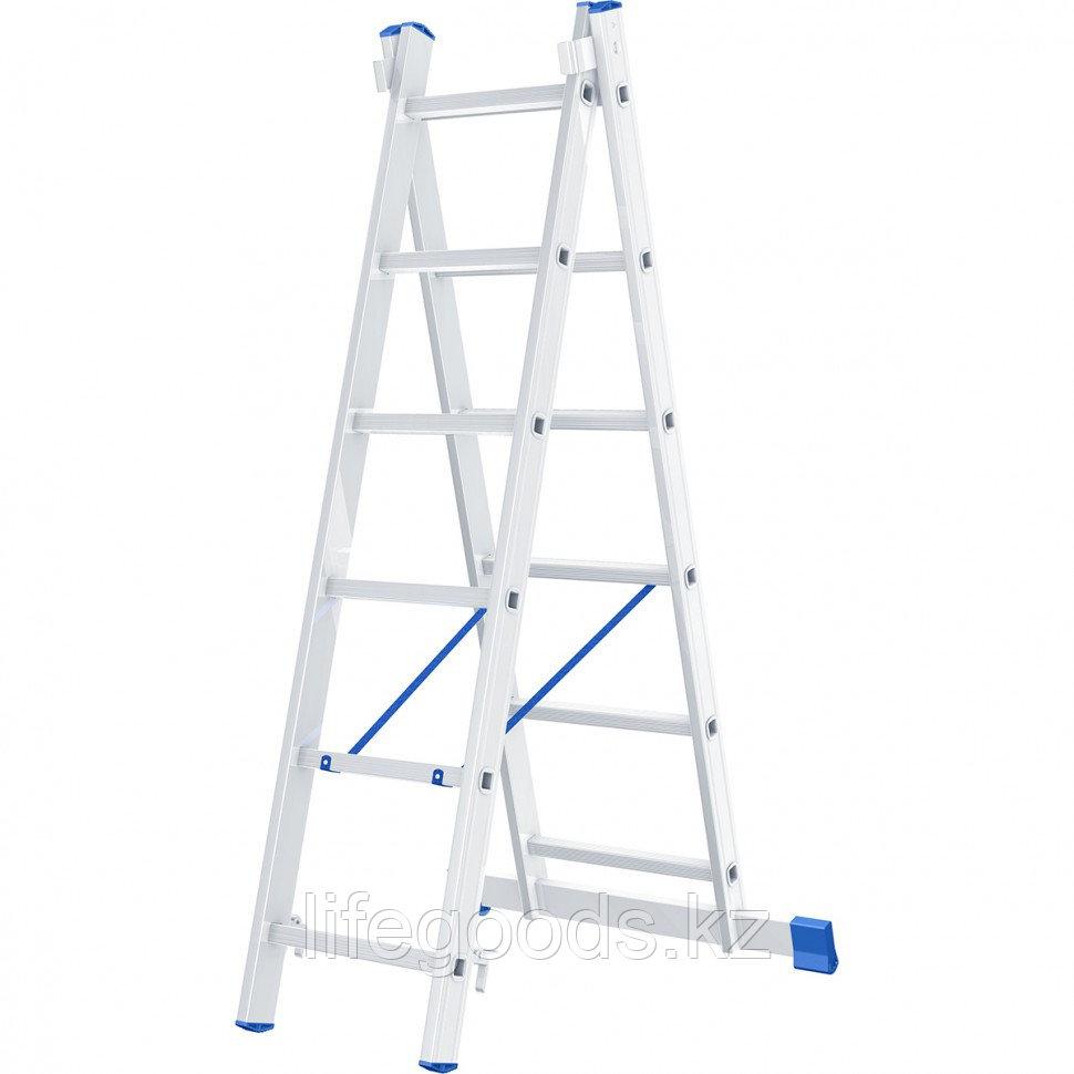 Лестница, 2 х 6 ступеней, алюминиевая, двухсекционная, Россия, Сибртех 97906