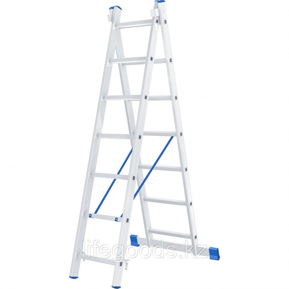 Лестница, 2 х 7 ступеней, алюминиевая, двухсекционная, Россия, Сибртех 97907