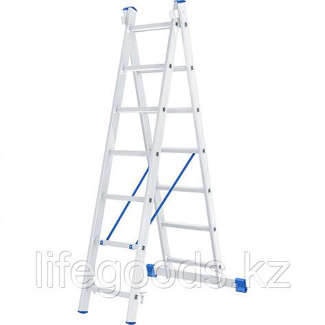 Лестница, 2 х 7 ступеней, алюминиевая, двухсекционная, Россия, Сибртех 97907, фото 2