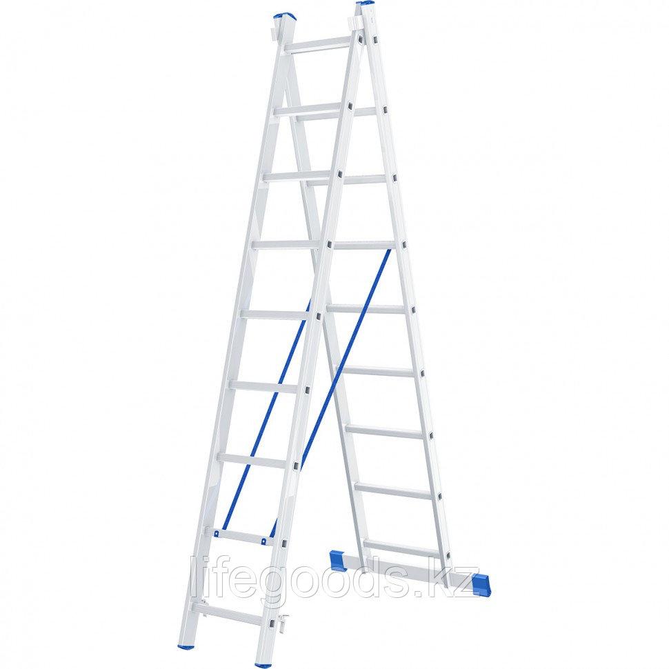 Лестница, 2 х 9 ступеней, алюминиевая, двухсекционная, Россия, Сибртех 97909