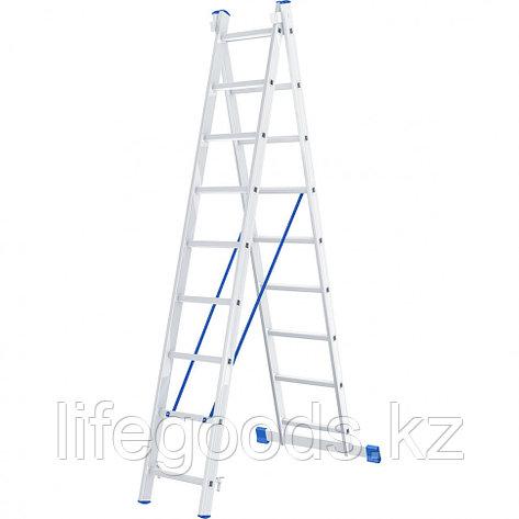 Лестница, 2 х 9 ступеней, алюминиевая, двухсекционная, Россия, Сибртех 97909, фото 2